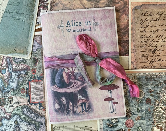 Alice in Wonderland Notebook, Paperback, Writing Journal, Travel Journal, Gifts for Writers, Thick Paper, A5 insert, Sketchbook
