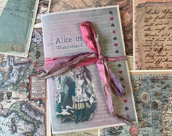 Alice in Wonderland Journal, Paperback Writing Journal, Notebook, Handmade Journal, Soft Cover Notebook, A5 insert