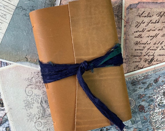 Rustic Leather Notebook, Soft Cover, Tea Stained Paper, Unique Journal, Travel Journal, Gift for Writers, Sketchbook, Lay Flat Binding, B6