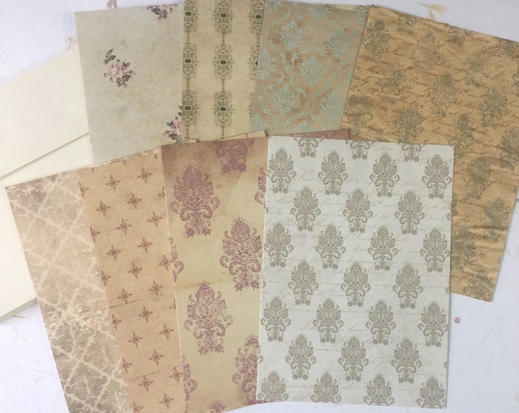 Vintage Damask, Wallpaper, Vintage Style, Writing Paper, Journal Cards, Set of 8, 4 x 6 inches, Stationery Set, Writing Set, Gifts