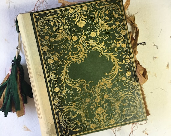 Green and Gold, Shadow Tome, Wedding, Writing Journal, Unique Journal, Guest Book, Art Journal, Vintage Style, Scrapbook