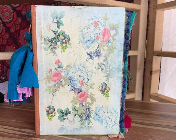 Junk Journal, Blue and Pink Floral, Writing Journal, Handmade, Guest Book, Wedding Book, Art Journal, Scrapbook, Sari Silk Trim,  9 x 6 in