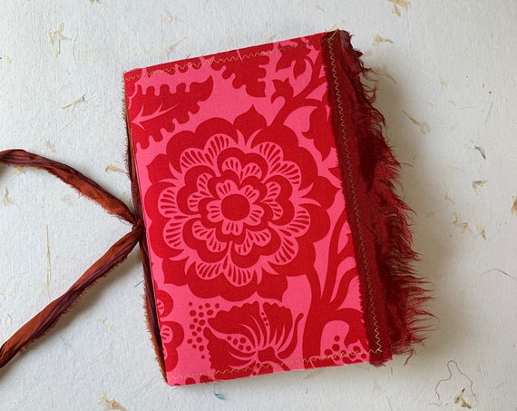 Pink and Red Journal, Writing Journal, Notebook, Travel Journal, Garden Journal, Junk Journal, Nomad Collection, Unique Writing Journal