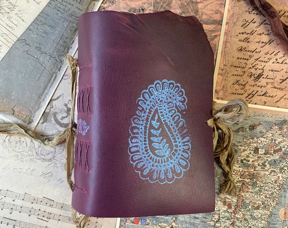 Bainganee: A Special Leather Journal, Travel Journal, Sketchbook, Stained Paper, Unique Journal, Purple