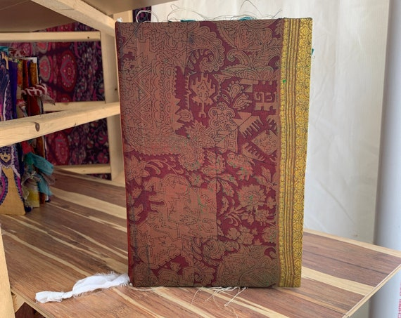 Vintage Printed Silk, Handmade, Junk Journal, Art Journal, Scrapbook, Sari Silk Trim, Writing Journal, Guest Book, Wedding Book, 9 x 6 in