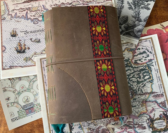 Leather Handmade Junk Journal, Artist Journal, Vintage Sari Trim, Travel Journal, Book of Shadows, Scrapbook, Unique Journal, Vintage Style