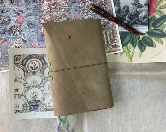 Green Soft Cover Leather Journal, Tea Stained Paper, Unique Journal, Travel Journal, Gift for Writers, Sketchbook Journal, Lay Flat Binding