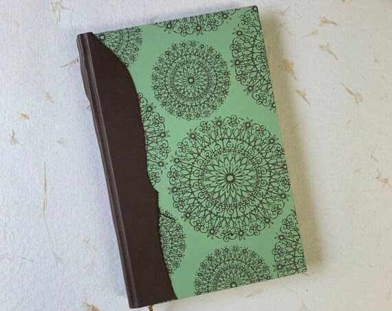 Handmade Writing Journal, Vintage Style, Mandala Notebook, Travel Journal, Agenda, Sketchbook, Linen Paper, Ivory Pages, Mint Green