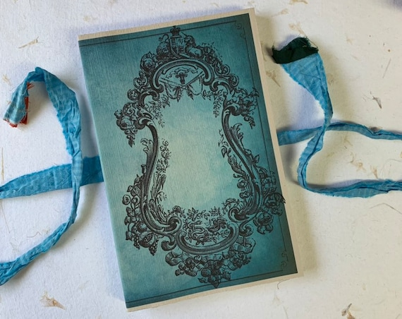 Blue Vintage Style Frame, Paperback, Writing Journal, Notebook, White Pages, Travel Journal, Diary, Agenda, Sketchbook, Handmade, 8.5 x 5.5