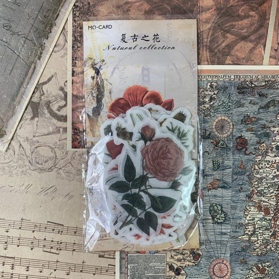 Fall Floral Journal Stickers, Junk Journal Kit, Ephemera Set, Stationery, Travel Journal, Vintage Style, Scrapbook, Vellum Stickers