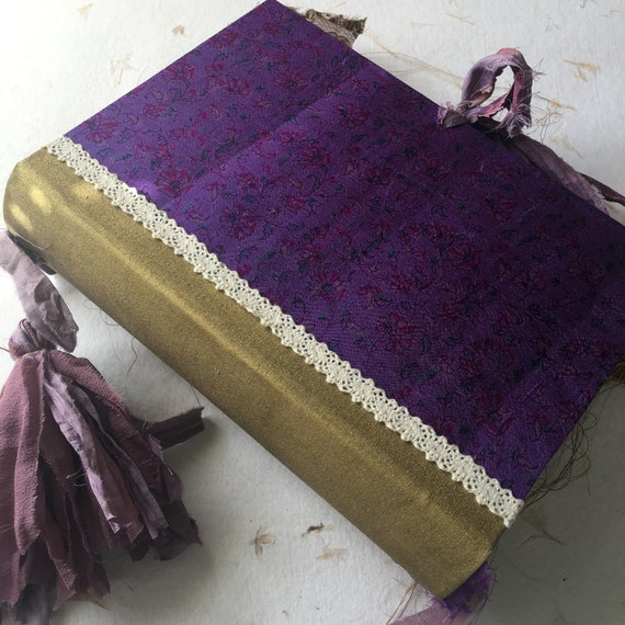 Junk Journal, Guest Book, Art Journal, Book of Shadows, Sari Silk Trim, Purple Floral Silk, Scrapbook, Handmade, 9 x 6 in, A5