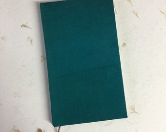 Writing Journal, Small Notebook, Hard Cover, Lay Flat Pages, Writing Journal, Travel Journal, Notebook, Handmade, Turquoise Silk Cover
