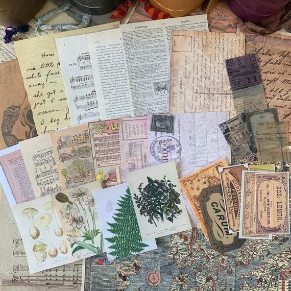 Bullet Journaling Kit, Vintage Ephemera Set, Stationery Set, Junk Journal Kit, Travel Journal, Apothecary & Ads, Receipts, V5