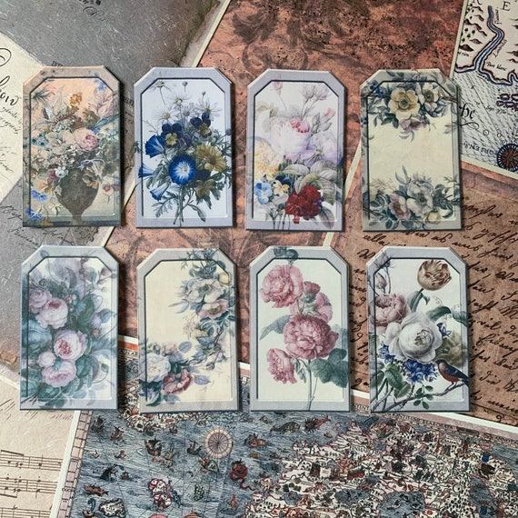 Soft Floral Tags, Ephemera Set, Gift Tags, Stationery Set, Junk Journal Kit, Travel Journal, Scrapbook Embellishments, Bullet Journaling, V1