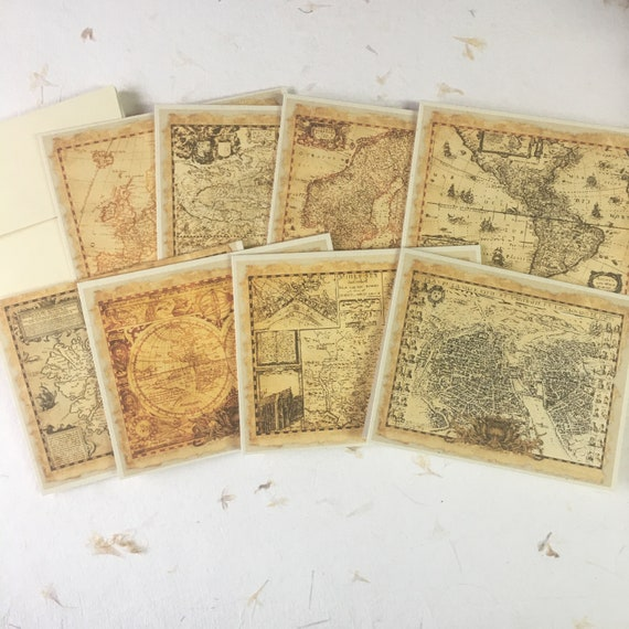 Old Maps, Vintage Style, Blank Notecards and Envelopes, Set of 8, 5 x 7 inch,  Flat Note Cards, Pirate Maps