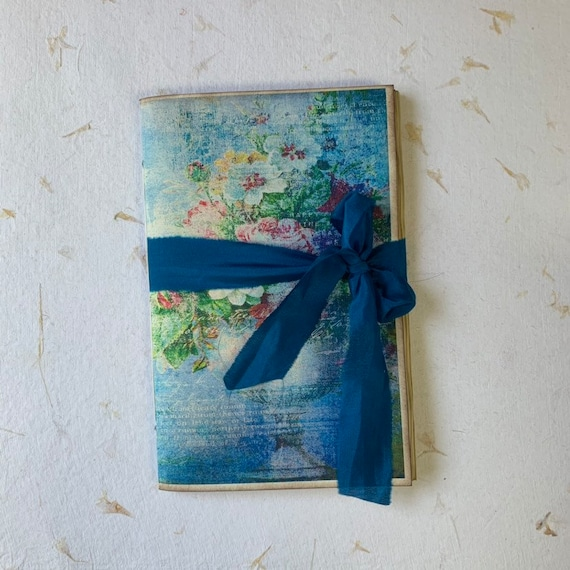 Junk Journal, Travel Journal, Blue and Red Floral, Notebook, Paperback, Writing Journal, Gifts for Writers, Tea Stained Paper, Notebook