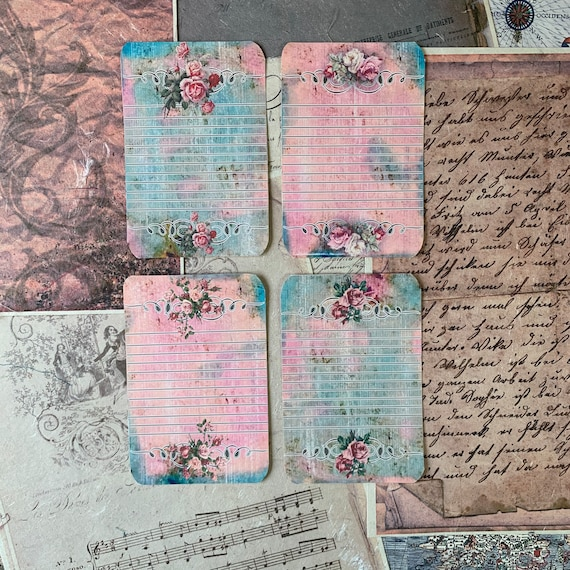 Lined Journal Cards, Pink & Green, Vintage Style, Journal Cards, Set of 4, 3 x 5 inches, Stationery Set, Writing Set, Gifts, Bullet Journal