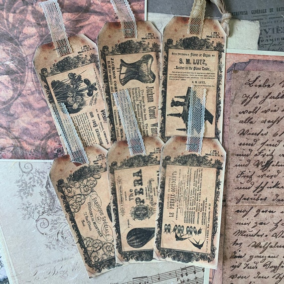 Vintage Advertisement Tags, Ephemera Set, Gift Tags, Stationery Set, Junk Journal Kit, Travel Journal, Scrapbook Embellishments