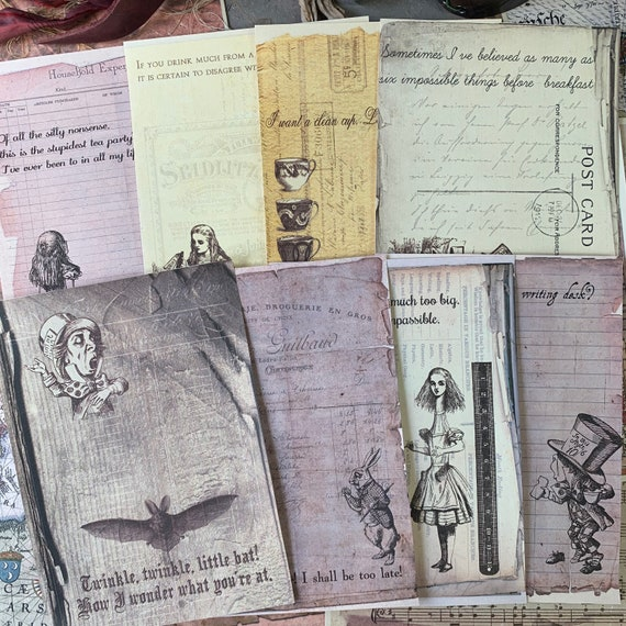 Alice in Wonderland, Sepia Toned, Note Paper, Journaling Cards, Stationery Set, Blank on the Back, Set of 8, 5 x 7 inches