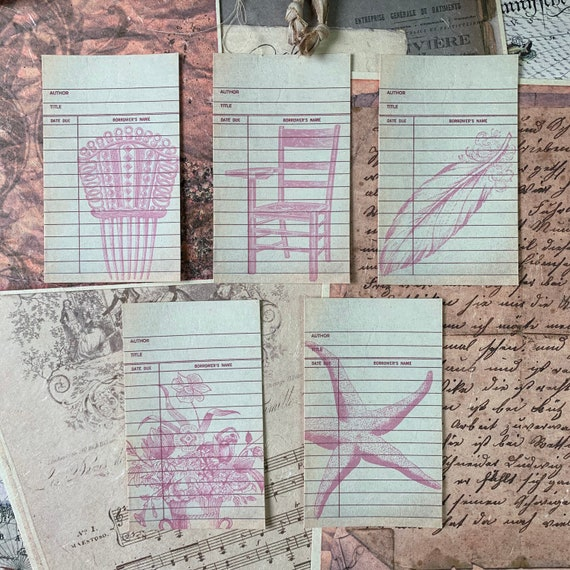 Journaling Cards, Ephemera Set, Library Cards, Stationery Set, Junk Journal Kit, Travel Journal, Office and Writing, Scrapbook Paper, Pink