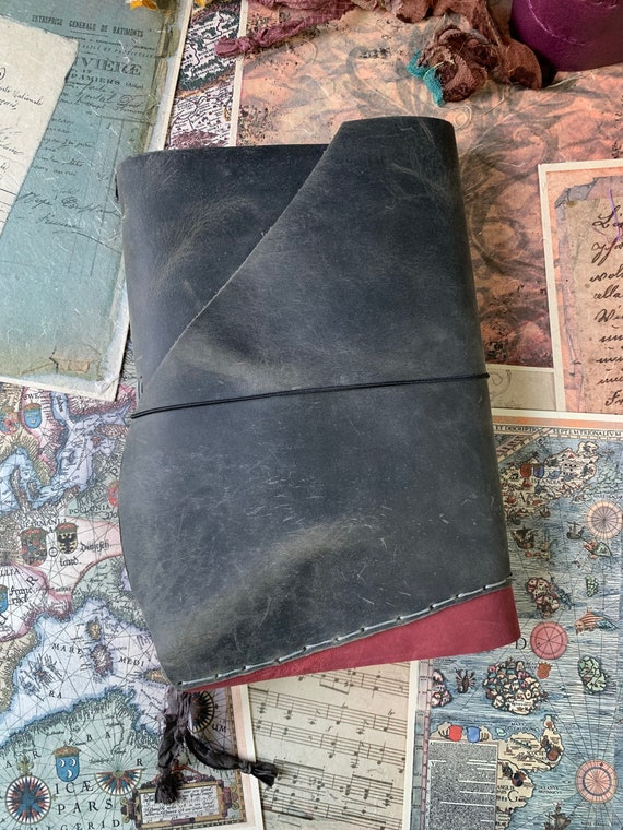 Gray and Red Leather Handmade Journal, Large Journal, Book of Shadows, Unique, Vintage Style, Bullet Journal, Scrapbook