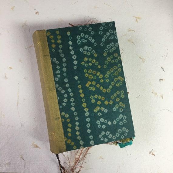 Handmade Junk Journal, Green and Gold Journal, Unique Journal, Wedding, Guest Book, Art Journal, Scrapbook, Book of Shadows, 9 x 6