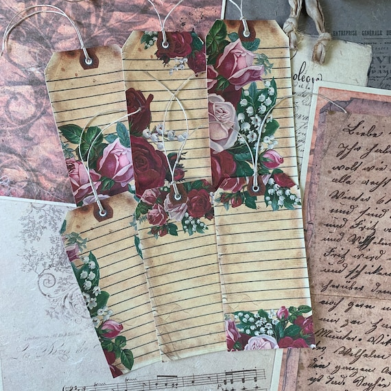 Floral Tags, Ephemera Set, Gift Tags, Stationery Set, Junk Journal Kit, Travel Journal, Scrapbook Embellishments