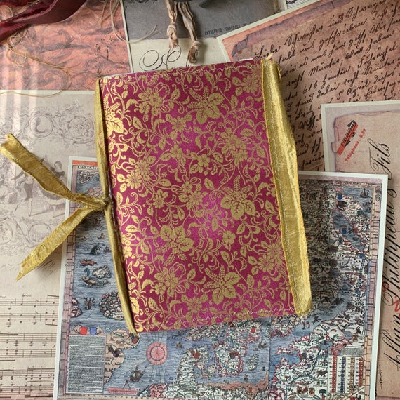 Pink and Gold Floral, Soft Cover, Boho, Junk Journal, Writing Journal, Notebook, Travel Journal, Nomad Collection, Unique Writing Journal