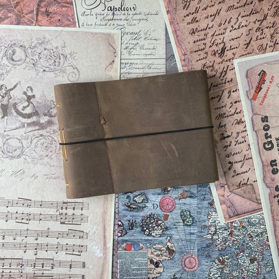 Travel Journal, Gift for Writers, Soft Cover Leather Journal, Sugar Cane Paper, Unique Journal, Sketchbook Journal, Lay Flat Binding