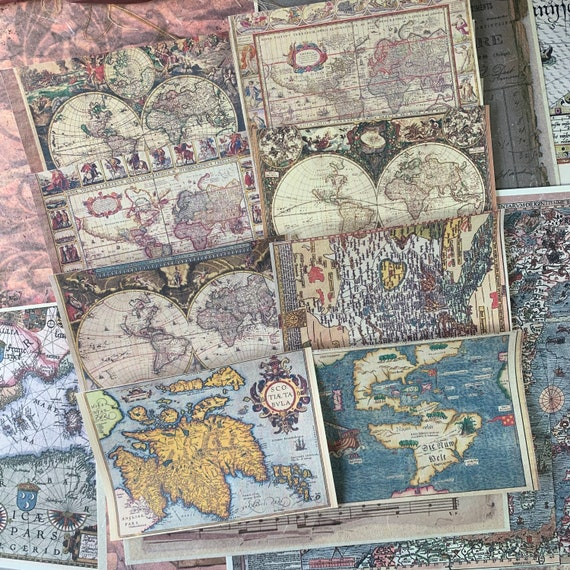 Vintage Maps, Set of 8, 3.5 x 5 inch,  Full Color, Note Paper, Pirate Maps, Scrapbook Paper, Ephemera, Stationery Set, Bullet Journal, V2