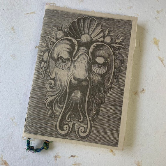 Grotesque Style, Paperback, Writing Journal, Vintage Mask, Notebook, Ivory Pages, Travel Journal, Diary, Agenda, Sketchbook, Handmade