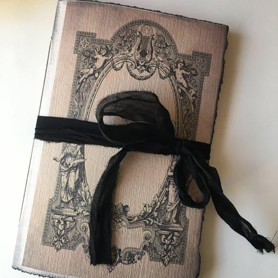 Baroque Frame, Gothic, Paperback Writing Journal, Notebook, Music Journal, Handmade Notebook, Sketchbook, Budget Friendly Guest Book