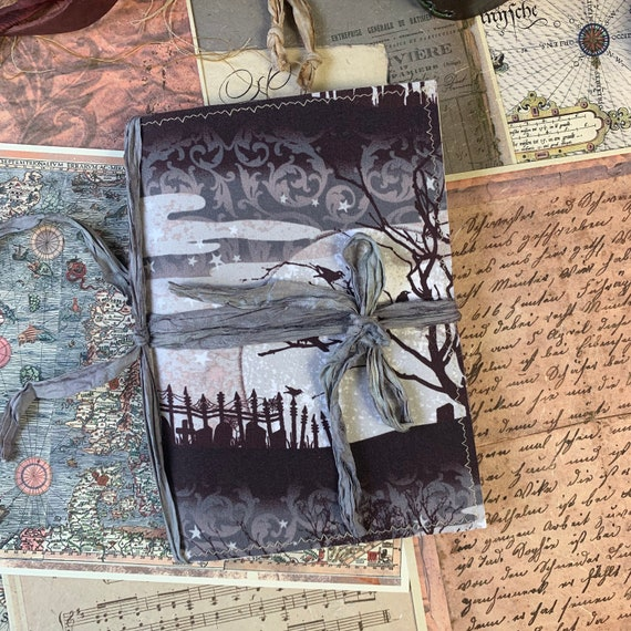 Gothic Journal, Crows, Cemetery, Writing Journal, Notebook, Travel Journal, Junk Journal, Nomad Collection, Unique Writing Journal
