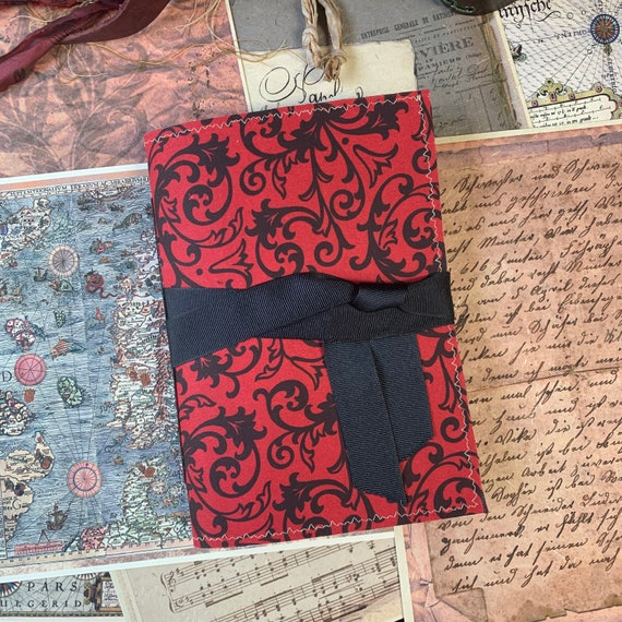 Gothic Journal, Writing Journal, Notebook, Travel Journal, Junk Journal, Poe, Red and Black, Nomad Collection, Unique Writing Journal