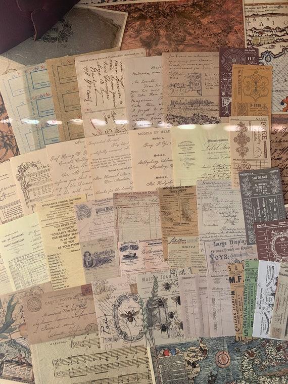 Bullet Journaling Kit, Vintage Ephemera Set, Stationery Set, Junk Journal Kit, Travel Journal, Book Pages & Ads, Receipts, V6