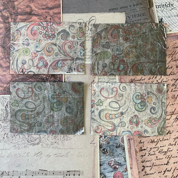 Green Paisley Postcards, Writing Papers, Journal Cards, Set of 4, Writing Set, Stationery Set, Victorian Stationery, Vintage Style