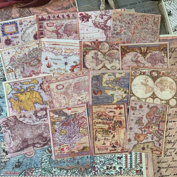 Antique Map Stickers 2, Ephemera Set, Stationery Set, Junk Journal Kit, Travel Journal, Large Sticker Set, Vintage Style Stickers, Scrapbook
