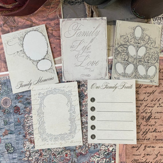 Journaling Cards, Ephemera Set, Family Memories Cards, Stationery Set, Junk Journal Kit, Travel Journal, Office and Writing, Scrapbook