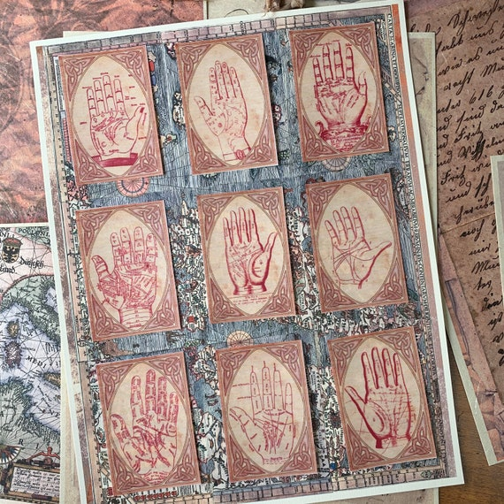 Palmistry Stickers, Ephemera Set, Stationery Set, Fortune Teller, Junk Journal Kit, Travel Journal, Sticker Set, Vintage Style, Scrapbook