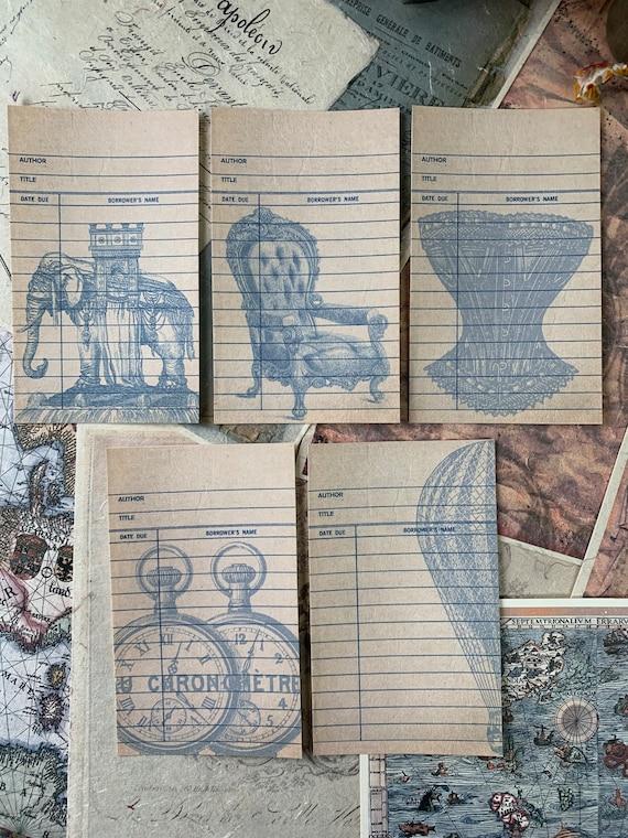 Victorian Journaling Cards, Ephemera Set, Library Cards, Junk Journal Kit, Travel Journal, Office and Writing, Scrapbook Paper, Blue