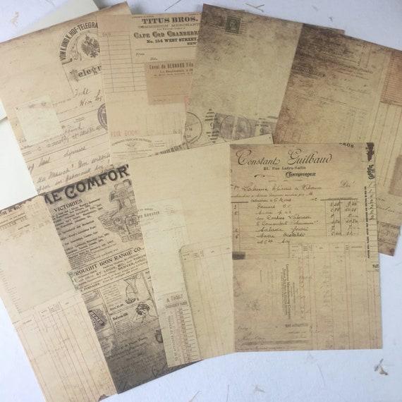 Vintage Ephemera, Vintage Style, Blank Cards and Envelopes, Set of 8, 5 x 7 inches, Stationery Set, Writing Set, Gifts for Writers