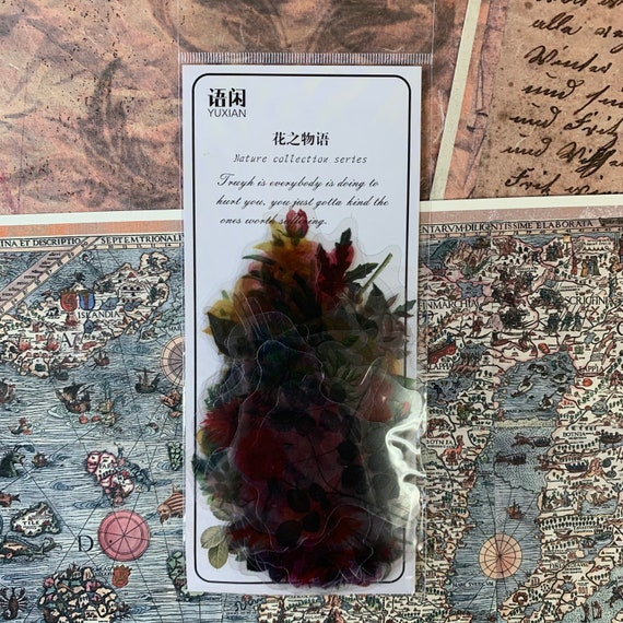 Summer Flowers Botanical Transparent Journal Stickers, Junk Journal Kit, Ephemera Set, Stationery, Travel Journal, Vintage Style, Scrapbook
