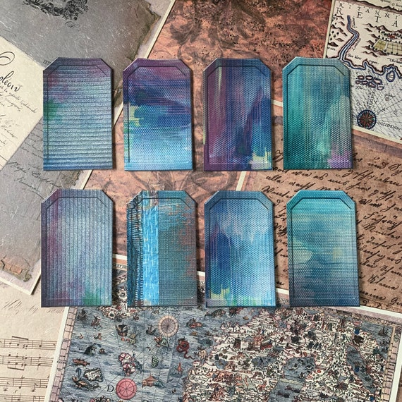 Blue and Green Tags, Ephemera Set, Gift Tags, Stationery Set, Junk Journal Kit, Travel Journal, Scrapbook Embellishments, Bullet Journaling