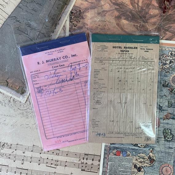 Vintage Receipts Paper Set, Junk Journal Kit, Ephemera Set, Stationery, Travel Journal, Vintage Style, Scrapbook Paper, Bullet Journal