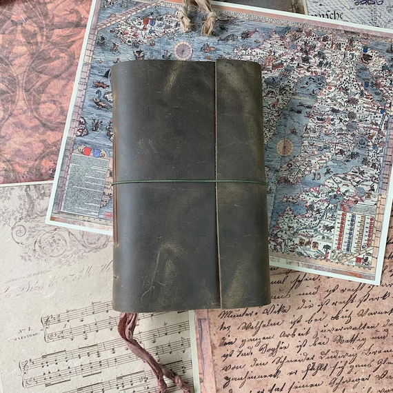 Rustic Leather Journal, Soft Cover, Tea Stained Paper, Unique Journal, Travel Journal, Gift for Writers, Sketchbook, Lay Flat Binding