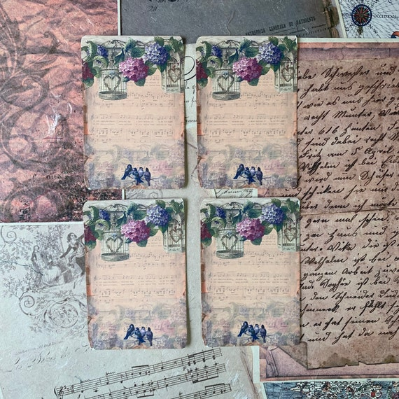 Vintage Frames, Grapes, Music Vintage Style, Journal Cards, Set of 4, 3 x 5 inches, Stationery Set, Writing Set, Gifts, Bullet Journal
