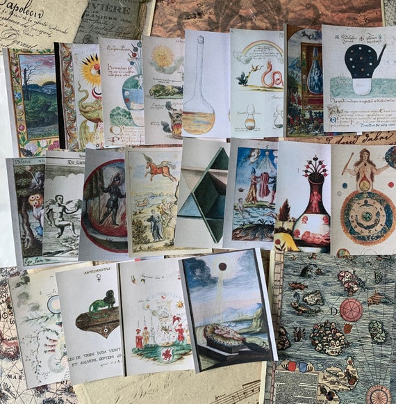 Alchemical Diagrams Ephemera Set, Book of Shadows, Magick, Medieval, Bullet Journaling, Vintage Ephemera, Stationery Set, Junk Journal