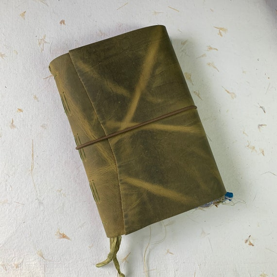 Leather Journal, Green Leather, Junk Journal, Unique Journal, Artist Journal, Travel Journal, Book of Shadows, Scrapbook, Bullet Journal