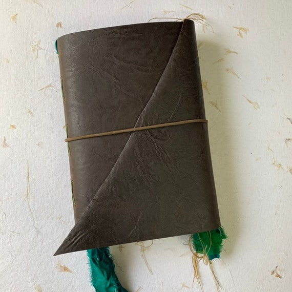 Leather Journal, Green Ribbons, Junk Journal, Unique Journal, Artist Journal, Travel Journal, Book of Shadows, Scrapbook, Bullet Journal