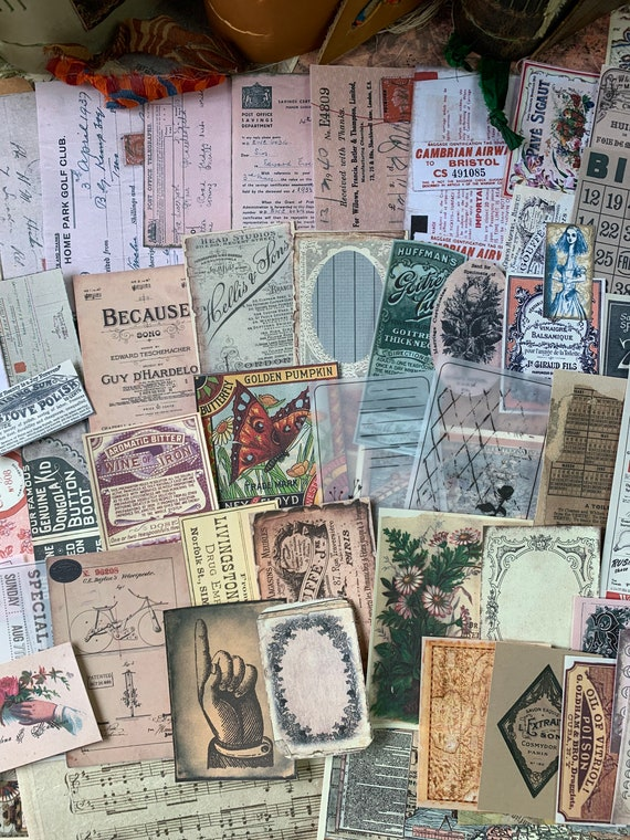 Journal Ephemera, Vintage Ephemera Set, Stationery Set, Junk Journal Kit, Travel Journal, Apothecary & Ads, Receipts, V10